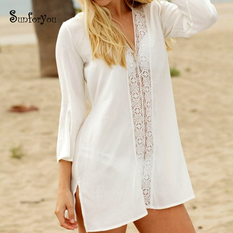 Cotton Lace Bathing Suit Cover Ups White Beach Pareo Vestidos De Playa Bikini Cover Up Saida De Praia 2019 Tunic For Beach Dress