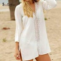 De encaje de algodón de traje de baño cubierta ups blanco Pareo de Playa, Vestidos de Playa Bikini cover up Saida de Praia 2019 túnica playa vestido