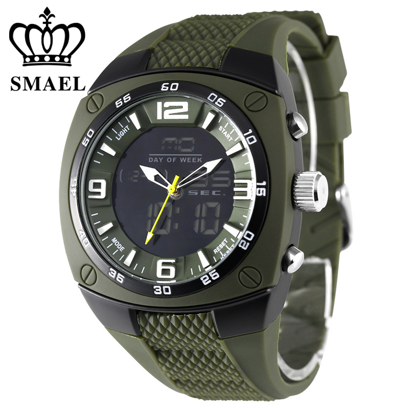 SMAEL Military Army Watches Men Alloy Case Big Dial Waterproof Dive Sport Led Digital Analog Men's Wristwatch WS1008