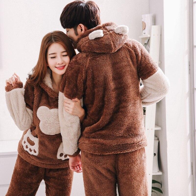 2019 Men's Plush Pajamas Hooded Full Sleeve Winter Warm Thicker Women Lounge Clothing Homewear Cute Cartoon Bear Pyjama homme
