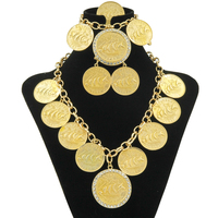 2017 new fashion Dubai Abaya coins yellow Copper alloy jewelry set African women's wedding dress crystal necklace earrings