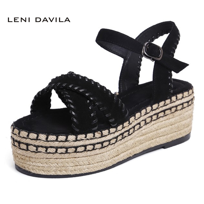 LENI DAVILA 2017 Summer Fashion women lady's Sexy sandals Nubuck Leather Wedges platform casual shoes for women Size:34-43 phyanic 2017 gladiator sandals gold silver shoes woman summer platform wedges glitters creepers casual women shoes phy3323