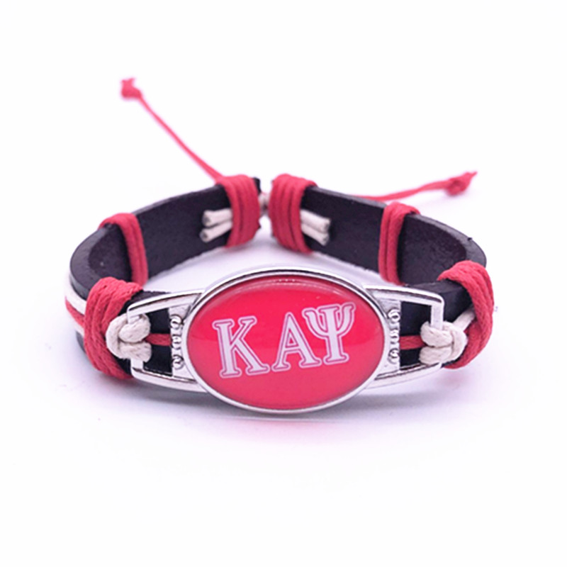 Custom Greek Letters Fraternity Kappaa Alpha Psi Charm Adjustable Genuine Leather Bracelets&Bangles Jewelry For Man Woman 1PCS