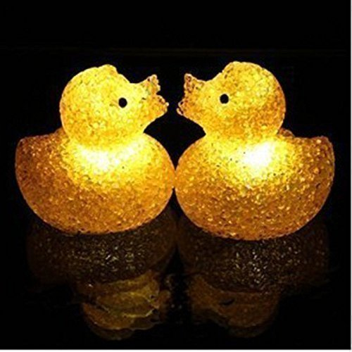 DSHA New Hot LED Yellow Crystal Duck Flashing Bath Lamp Light Toy for Baby Kids ...