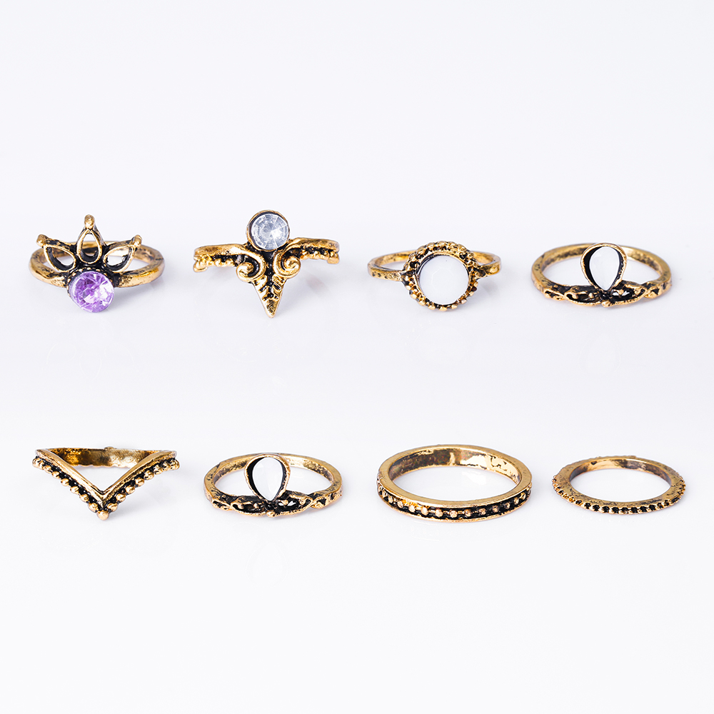 HTB1H2peRXXXXXXYXVXXq6xXFXXXT 8-Pieces Bohemian Vintage Retro Lucky Stackable Midi Ring Set For Women - 2 Colors