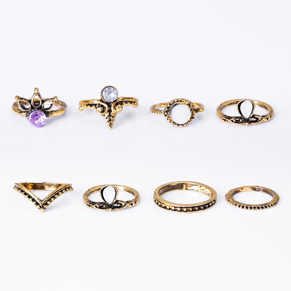 HTB1H2peRXXXXXXYXVXXq6xXFXXXT 8-Pieces Bohemian Vintage Retro Lucky Stackable Midi Ring Set For Women - 2 Colors