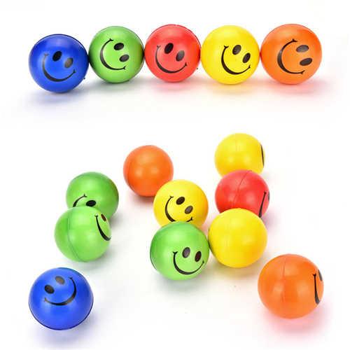 1 個 6.3 センチメートル笑顔の顔プリントスポンジ泡ボールスクイズストレスボールのおもちゃ手手首運動 PU ゴムおもちゃボール