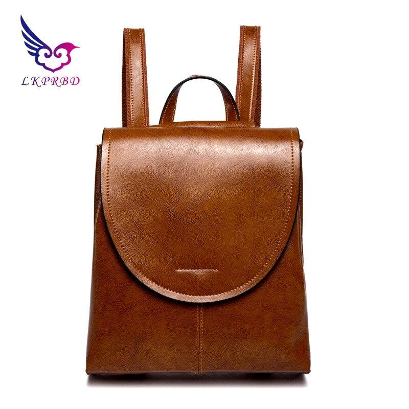 wax, leather, shoulder bag, 100% leather, women's bag, new fashion, Korean version, buffalo, cowhide, single shoulder backpack.