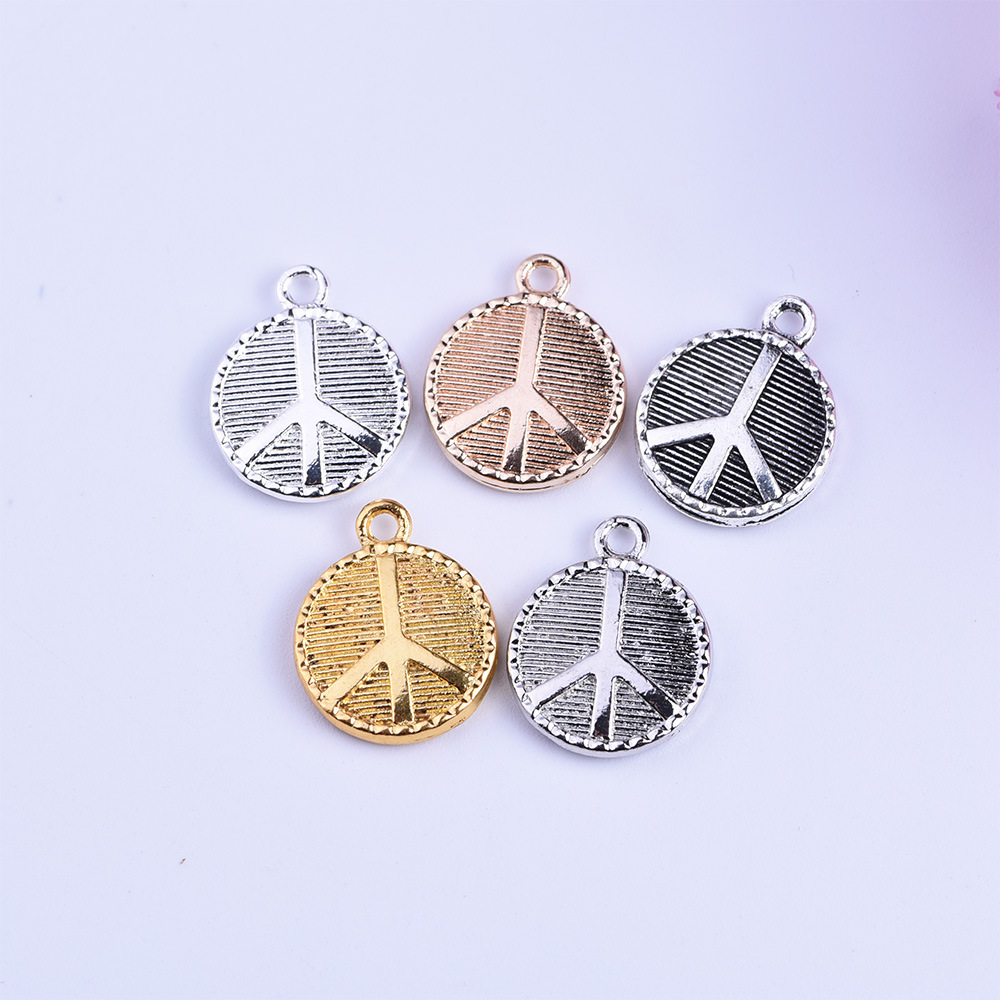 Hot Fashion 50pcs/lot 15*18mm Silver/Gold color Peace sign Alloy charms for DIY Handmade Jewelry Findings