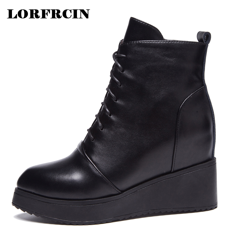 LORFRCIN Winter Boots Women Genuine Leather Pointed Toe Ankle Boots 8.5 cm High Heels Boots Platform Elevator Warm Shoes Woman fedonas top quality winter ankle boots women platform high heels genuine leather shoes woman warm plush snow motorcycle boots