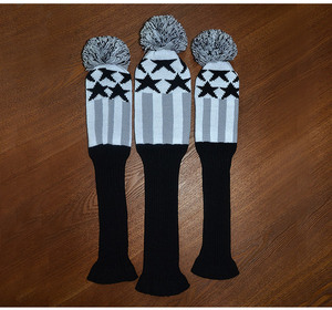 Image 4 - Golf Clubs Headcover 3pcs/set Kniting Golf Driver Wood Head Covers Knit Wool 1 3 5 Fairway Grey Stripe Headcover with Number Tag