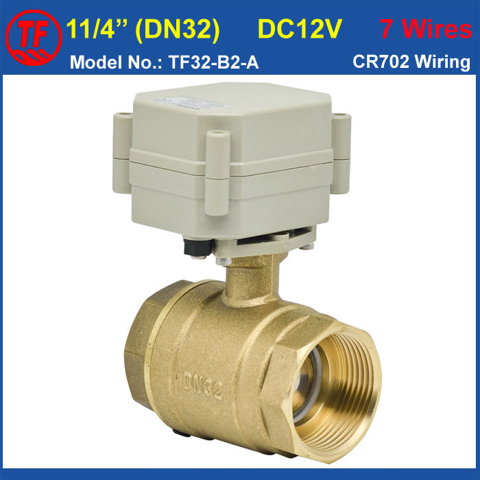 ФОТО Brass 11/4'' Motorized Ball Valve DC12V 7 Control Wires, DN32 Electric Shut Off Valve Bore 29mm On/Off 5 Sec, Metal Gear