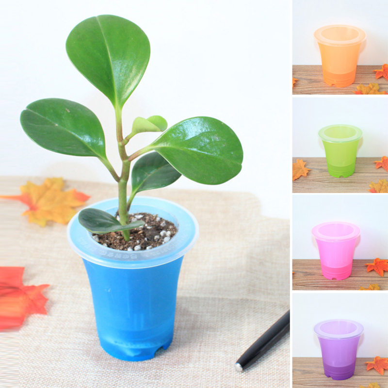 Automatic Watering Home Office Garden Flower Pot Home Decor Plastic Matte Surface Colorful