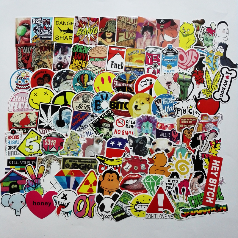 100pcs Mixed Cartoon Toy Stickers For Car Styling Bike Motorcycle Phone Laptop Travel Luggage Cool Funny Sticker Bomb Decals