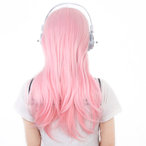 Image 4 - Super Sonico Supersonico 60cm Long Pink Ombre Hair Heat Resistant Cosplay Costume Wig + Toy headset