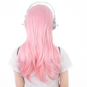 Image 4 - Super Sonico supersónico, 60cm, Rosa largo, cabello ombré, resistente al calor, disfraz de Cosplay, peluca + auriculares de juguete