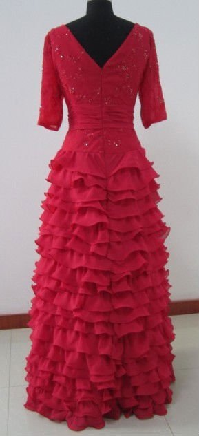 2011 New Arrival Half Sleeves Tiered Skirt Red Lace Chiffon Mother Evening Dress MD8002