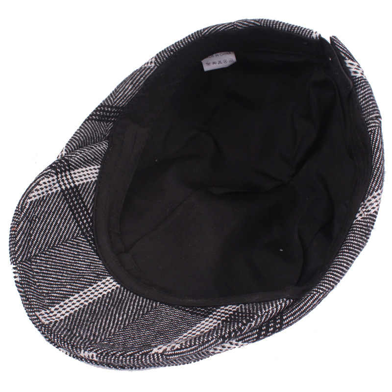 d12474fe6a59 New Mens Plaid Wool Beret Newsboy Hat Cap Duckbill Golf Driving Visor Flat  Cabbie Hats Gentleman Casual Boina Peaked Caps