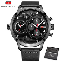 Dual time zone Chronograph Men Watch Leather band Business Watches Waterproof Scratch resistant Male Wristwatch Clock erkek saat