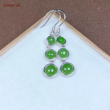 Certified Natural Hetian Jade  Jasper Inlaid 925 Sterling Silver Handmade Lucky Jade Earrings Green High Quality Best Gifts цена 2017