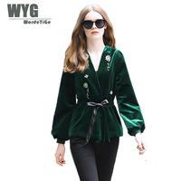 Commercio all'ingrosso di Lusso del Diamante Che Borda Il Nero/Verde Velluto Cardigan Top 2017 Autunno Inverno UK Fashion Maglia A Manica Lunga Giacche