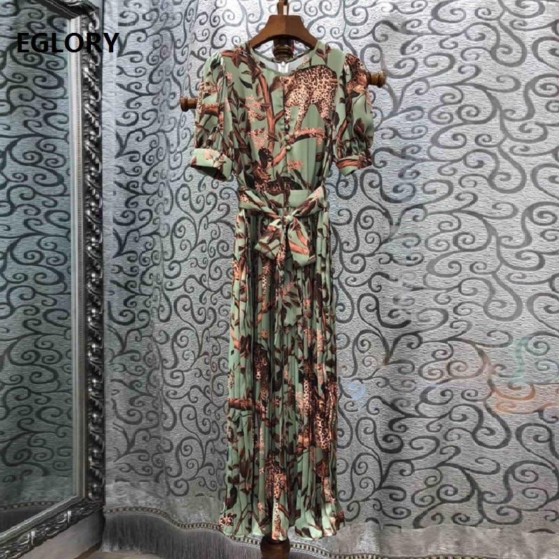 Newest Fashion Summer Dress 2019 High Quality Women O-Neck Sexy Wild Animal Print Short Sleeve Mid-Calf Length Pleated Dress
