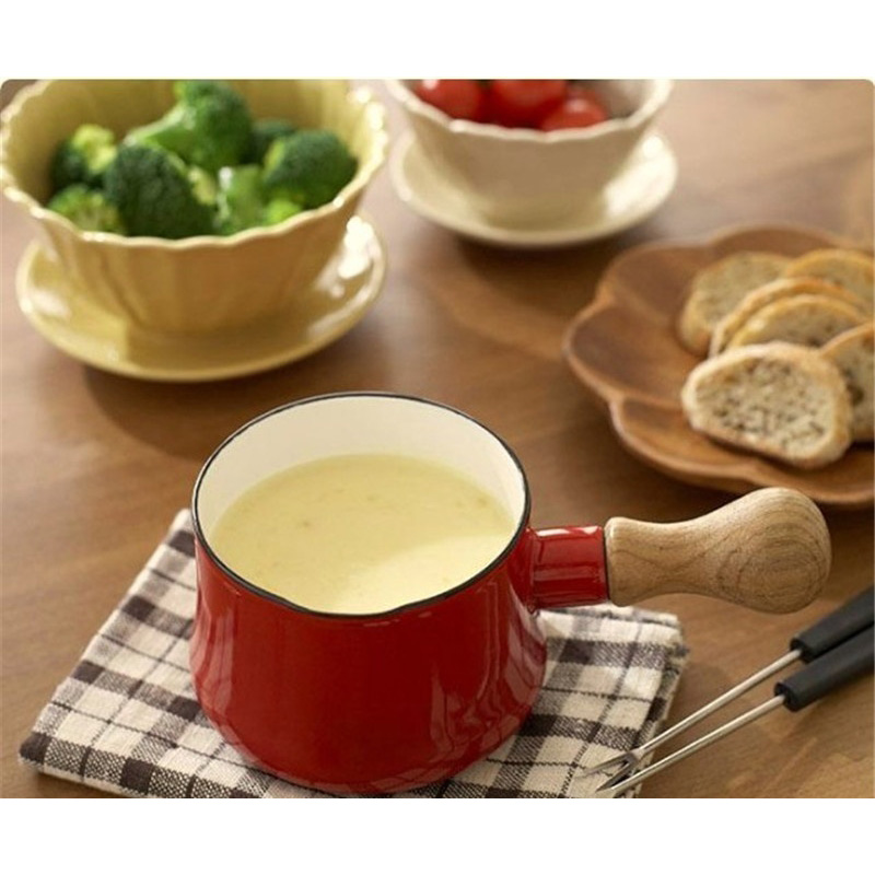 9cm Milk Butter Pot With Single Wooden Electromagnetic <font><b>pan</b></font>