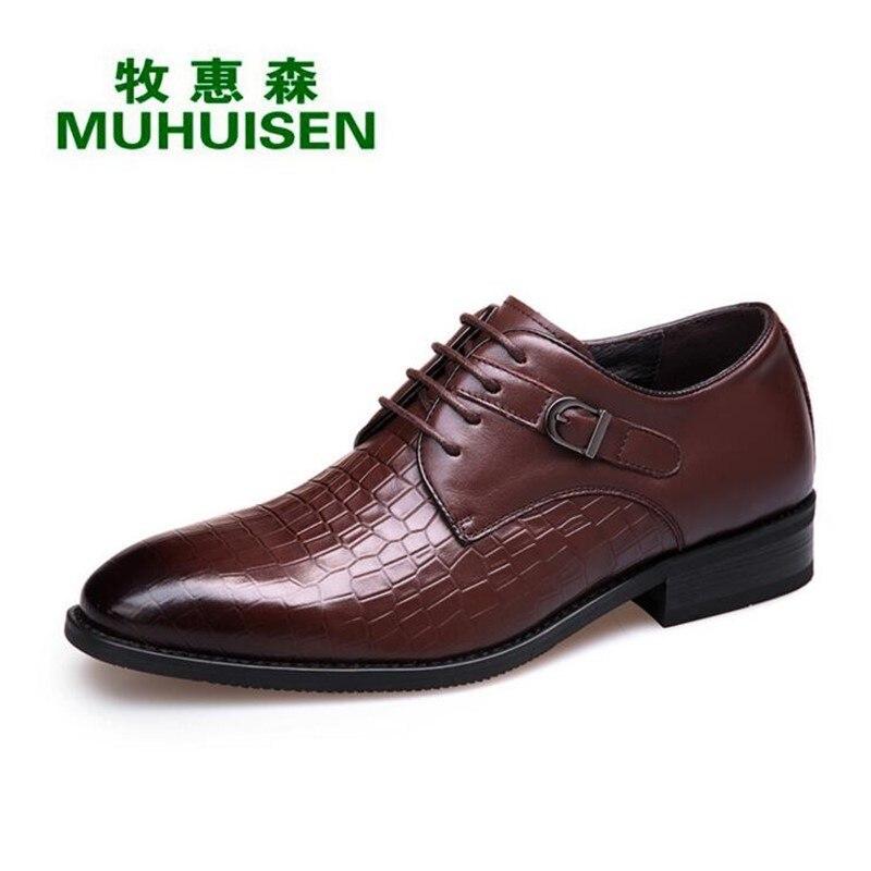 726fb82eadc19e Cuir brown Bout Black Noir Brun Muhuisen Véritable En Up Robe Oxford  Chaussures Décontractée Hommes Mode ...