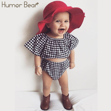 Humor Bear New Style Summer Plaid Baby Girls Clothes Set Cotton Suit Set Kids Clothing Infant Clothing Set