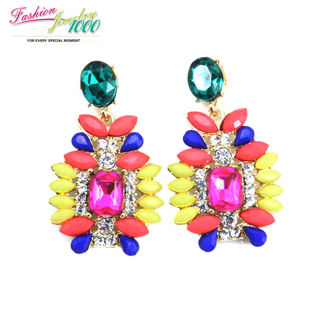 Free Shipping 2013 New Fashion Colorful Resin Stone And Crystal Drop Earrings Fashion Jewelry For Women