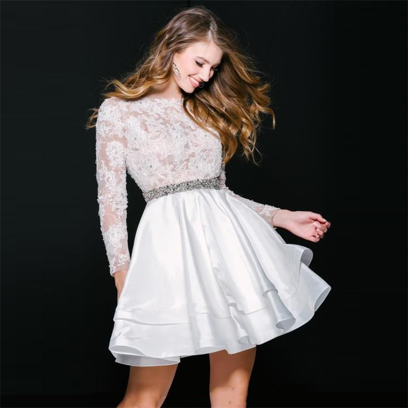 33ce11599e8 Long Sleeve Short White Lace Homecoming Dresses Cheap 2016 Sexy Open Back A  Line Satin Beaded Sash 8th Grade Graduation Dress