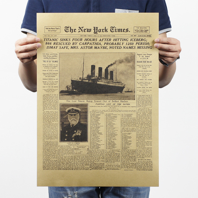 The New York Times The Titanic Sank Headlines Vintage Posters Wall Stickers  Kraft Paper Movie Posters