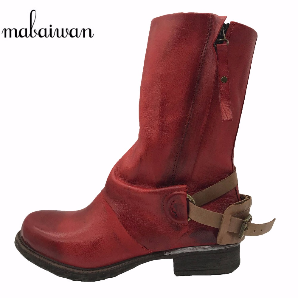 Mabaiwan 2017 Red Winter Women Ankle Boots Retro Genuine Leather Shoes Flats Botines Mujer Straps Botas Militares Martin Boots mabaiwan black winter snow martin ankle boots women shoes genuine leather flats retro military cowboy boots rivet zapatos mujer