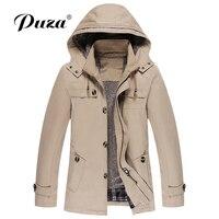 Модные Для мужчин плащ Для мужчин высококлассные зимой Slim Fit Повседневное плащ мужской чистый цвет с мехом внутри хлопок длинные куртки