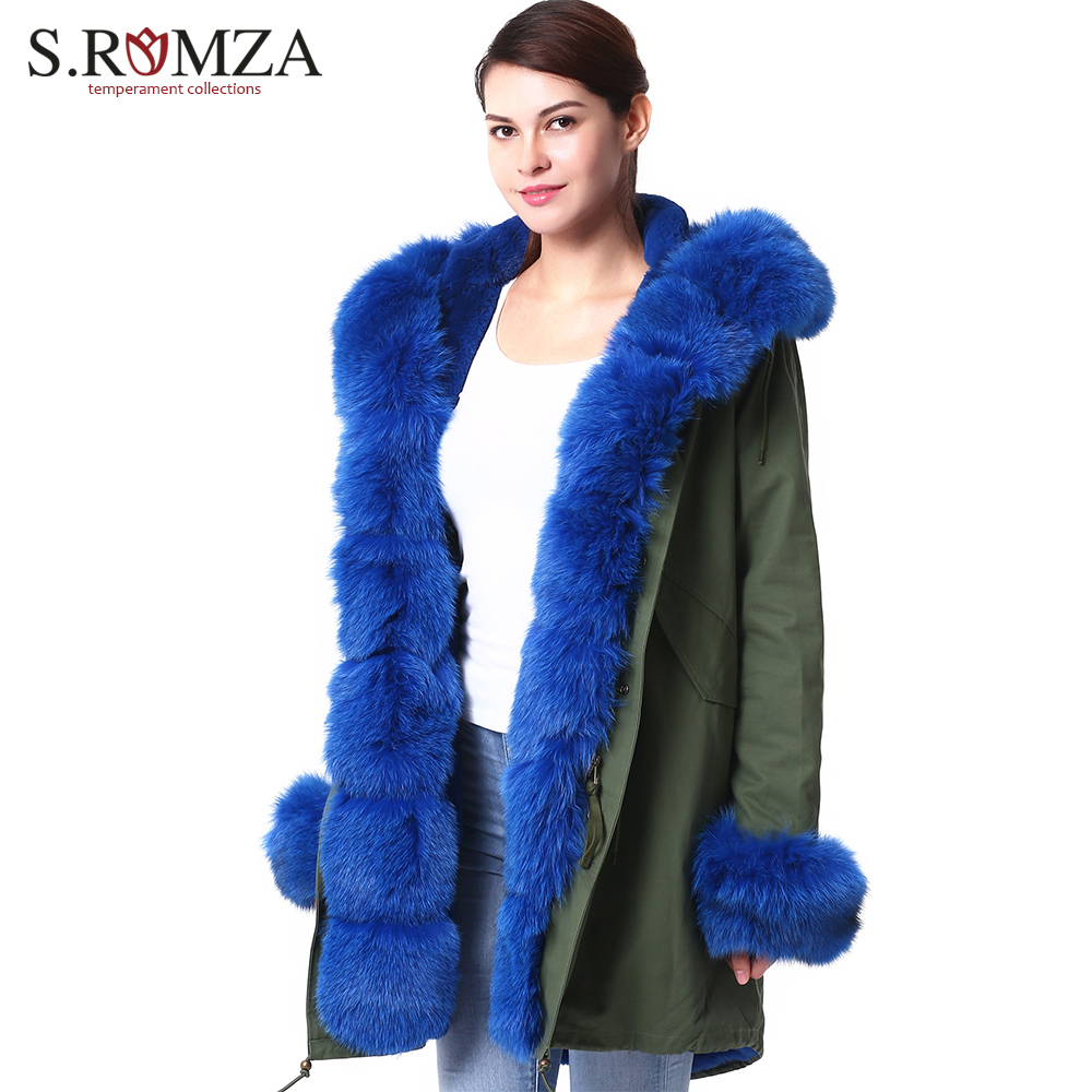 S Romza High Women Fashion Large Real Fox Fur Collar Parka