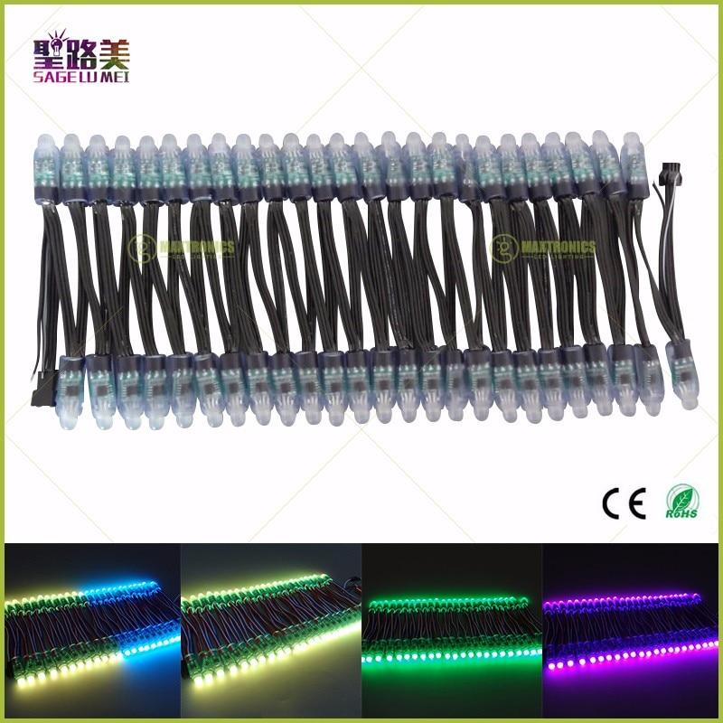 500pcs/lot 12mm Christmas Holiday led Pixel light ws2811 ic LED Module Black/Green/White/RWB Wires String Addressable DC5V 12V