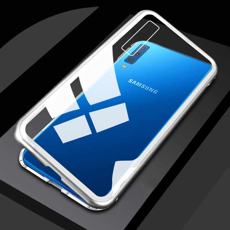 Magnetic Case for Samsung A7 2018 A750 Metal Bumper Tempered Glass Back  Magnet Cases Cover for Samsung Galaxy A7 2018 Case Coque