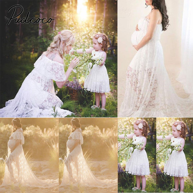 65cdb54843f 2018 Brand New Women Pregnant Dress Maxi Dress Maternity Dress Photography  Prop Lace Dress Family Matching Mom Daughter Clothes