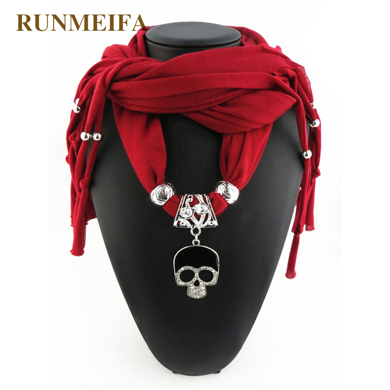 [RUNMEIFA] 2017 New Fashion Women Fashion Alloy Skull Pendant Scarves For Ladies/Girls/Women scarf hip hop scarf Free Shipping
