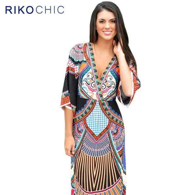 New Summer Autumn Bohemian Maxi Dresses Ethnic Deep V Neck Plus Size ...