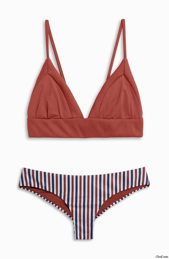 Red Stripe Bikini Set Sexy Push Up Bikinis Set Underwire Beach Swimsuit 2018 Women -3514