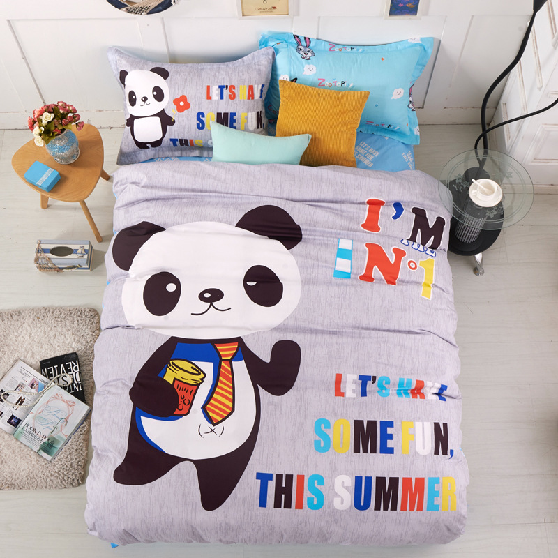 100 Cotton New Bedding Cartoon Bear cut Mouse 3pcs Duvet Cover Sets Soft Bed Linen Flat Bed Sheet Set Pillowcase in Bedding Sets from Home Garden