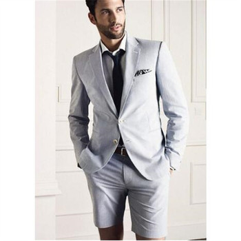 New Light Grey Casual Style Men Suits With Short Pant 2pieces(Jacket+Pants+Tie) Two Button Latest Designs Slim Tuxedo Blazer 406