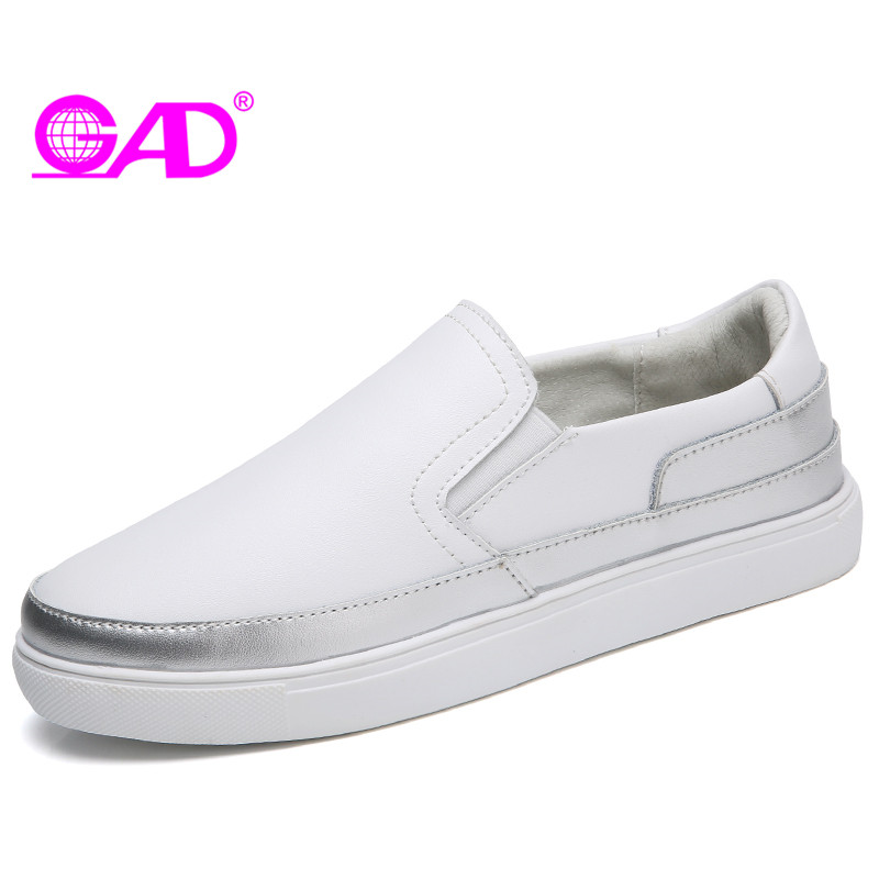 GAD Women Leather Loafers 2018 Spring/Autumn New Style Round Toe Elastic Band Women Casual Shoes Fashion Ballet Flats Boat Shoes 2018 spring autumn woman shoes casual fur loafers women warm ladies flats round toe girls 35 39 fashion shoes women 9033 1