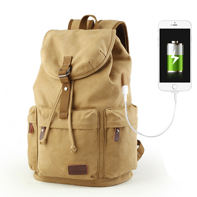 New Men Canvas Backpack Anti-theft College Student School Backpacks USB Charging Design for Teenager Travel Bags Male Laptop Bag multifunction men women backpacks usb charging male casual bags travel teenagers student back to school bags laptop back pack