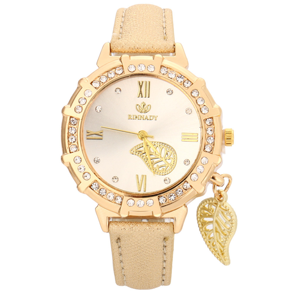 New Women Quartz Watches Leaves Tower Rhinestone Pendant Leather Wrist Watch 2018 Casual Golden Dial Ladies Watch Montre Femme@F