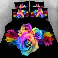 3D Kolorowe Róże Luksusowe Ślub Powłoczki Czarny Pojedyncze Pełne Królowej King Size Kołdra Pokrywa 3/4 pc 500TC dorosłych/Dziewczyna Pościel