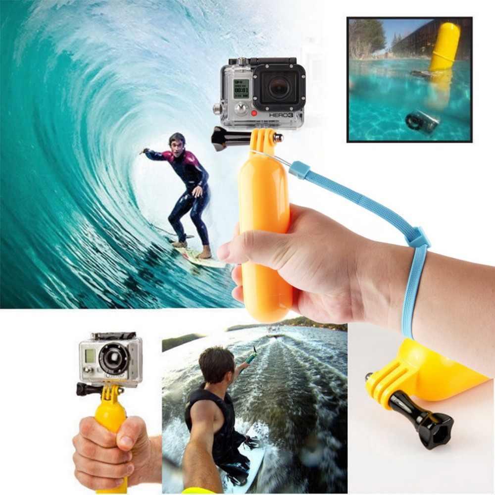 Profesional Floaty flotante agarre de mano montaje de trípodes flotador + correa de muñeca + tornillo para GoPro Hero 3 + 3 2 1 amarillo al por mayor
