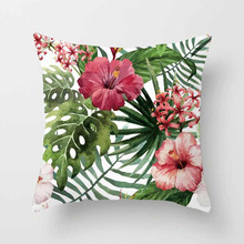цена Vintage Flower Tropical Leaves Waist 45*45cmThrow Pillow Cover Home Decor Cushion Cover Decorative Pillowcase онлайн в 2017 году