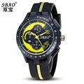 Sbao Amarelo Homens Relógio De Designer Famosa Marca de Moda Silicone relógio de Quartzo Relogio masculino Esportivo Resistente À Água Relógios Elegantes